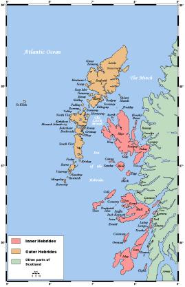Det gula är Yttre Hebriderna med bl a Harris. Det rosa är Inre Hebriderna
