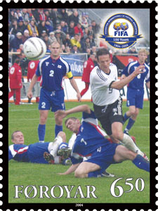 Faroe_stamp_492_FIFA_100_years_-_national_footballteam
